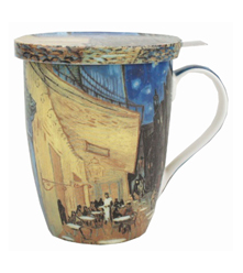 Van Gogh Cafe Terrace at Night Tea Mug w/ Infuser & Lid